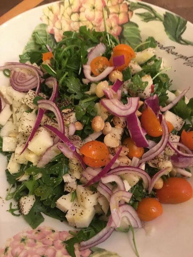 arugala jicama salad untossed