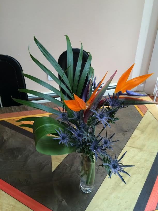 birds of paradise arrangement kitchen