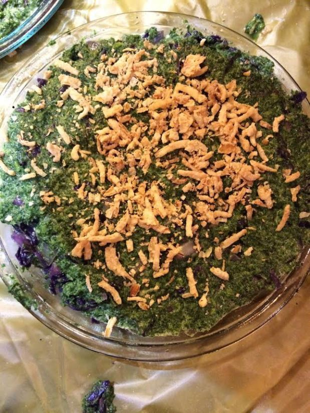 kale cabbage kugel  with onions