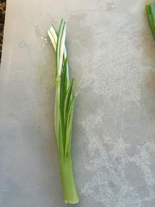 scallion brush ready for ice water
