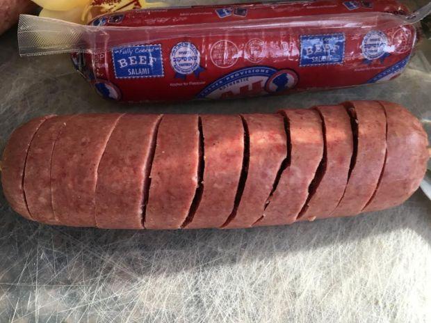 baked spiarlized salami-spiralized