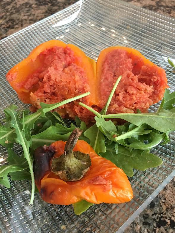 beef-stuffed pepper on plate