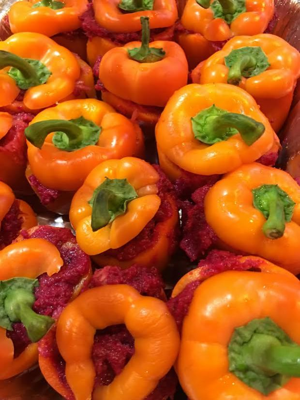 beet-stuffed peppers before cooking