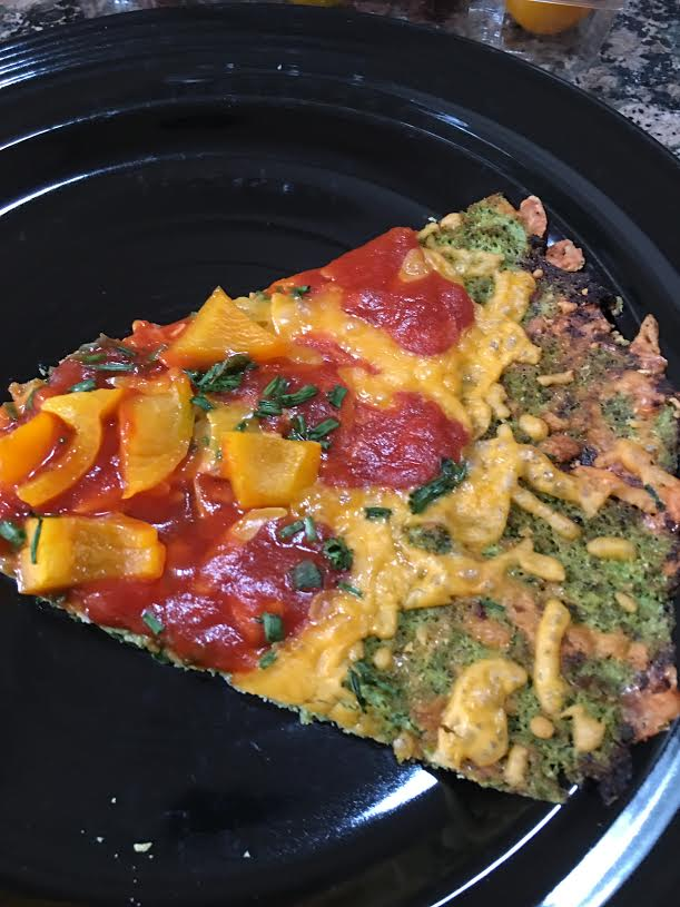 brocolli pizza crust-cut in triangle