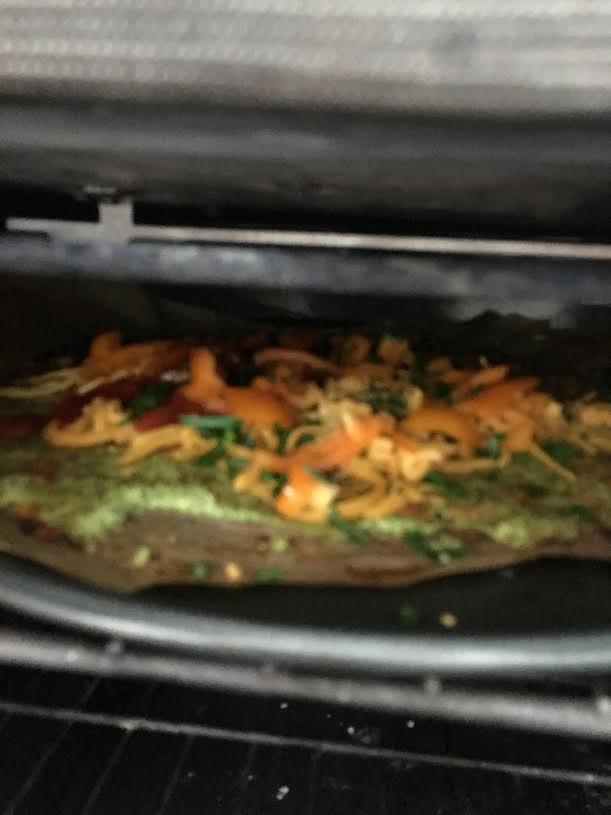 brocolli pizza crust-in oven