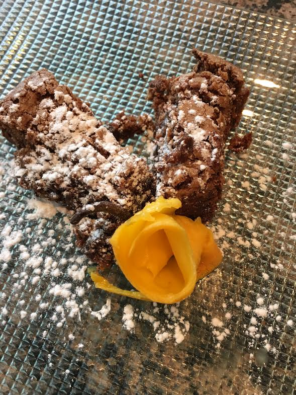 flourless chocolate cake pieces with mango