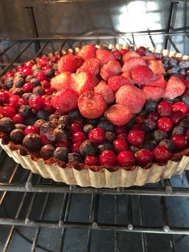 mango rose tart in oven