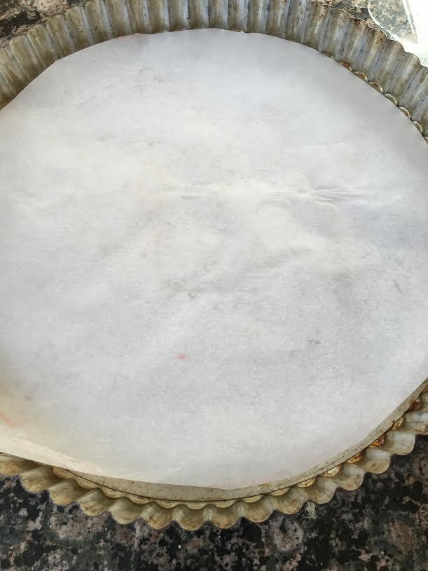 mango rose tart parchment lining