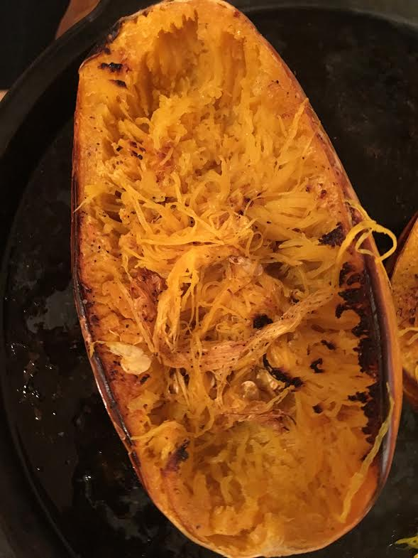 spaghetti squash-before adding sauce and cheese