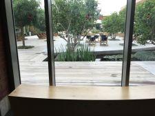 cramim spa pond area view through window