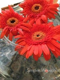 last week's gerber daisies in a large rose bowl