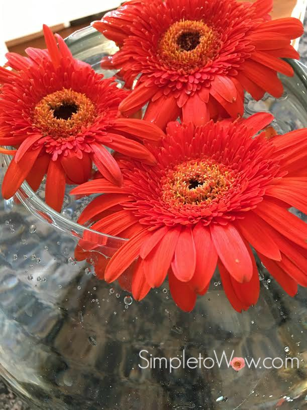 last week's gerber daisies in a large rose bowl