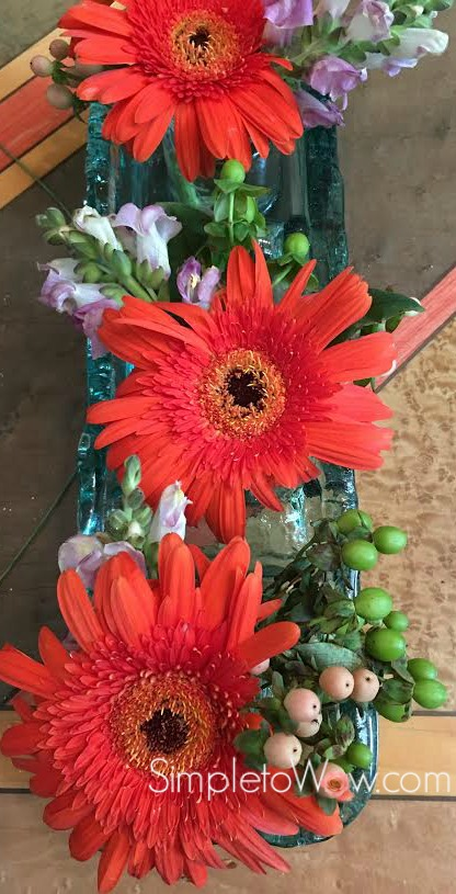 upcycled floral arrangement-gerber daisies
