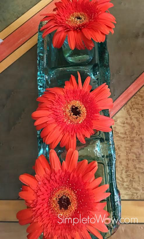 upcycled floral arrangement-gerbers only