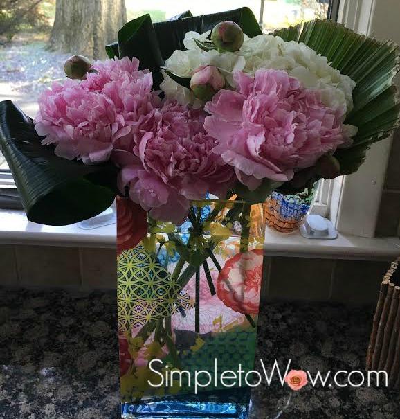 hydrangea and peony arrangement
