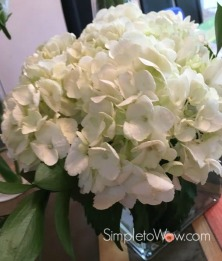 trio of floral arrangments-white hydrangea