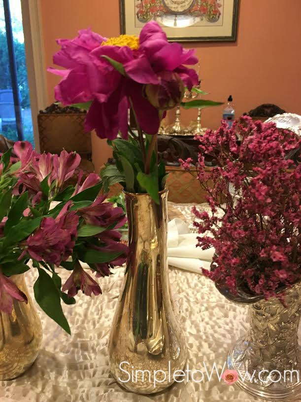 A Trio Of Magenta Flowers In Vintage Silver Vases Simple To Wow