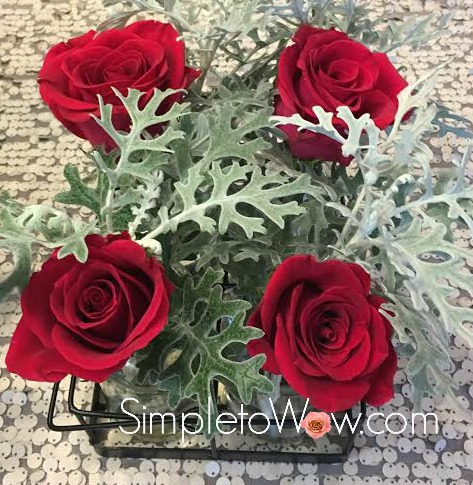 red roses with dusty miller