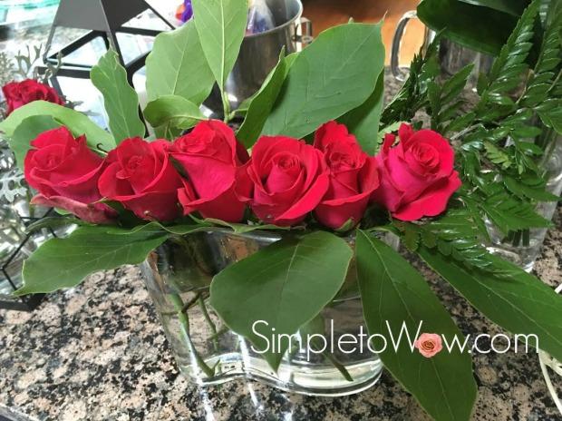roses in wavy vase