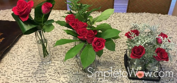 trio of red roses