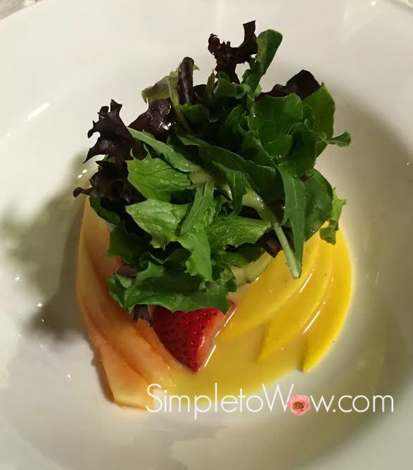 upright wrapped salad with fruit