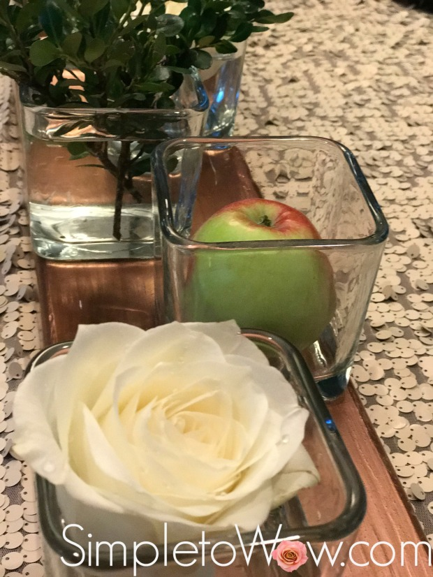 roses and apples arrangement