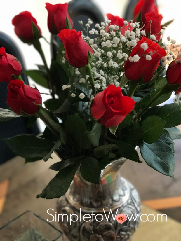 simpletowow roses in antique silver vase