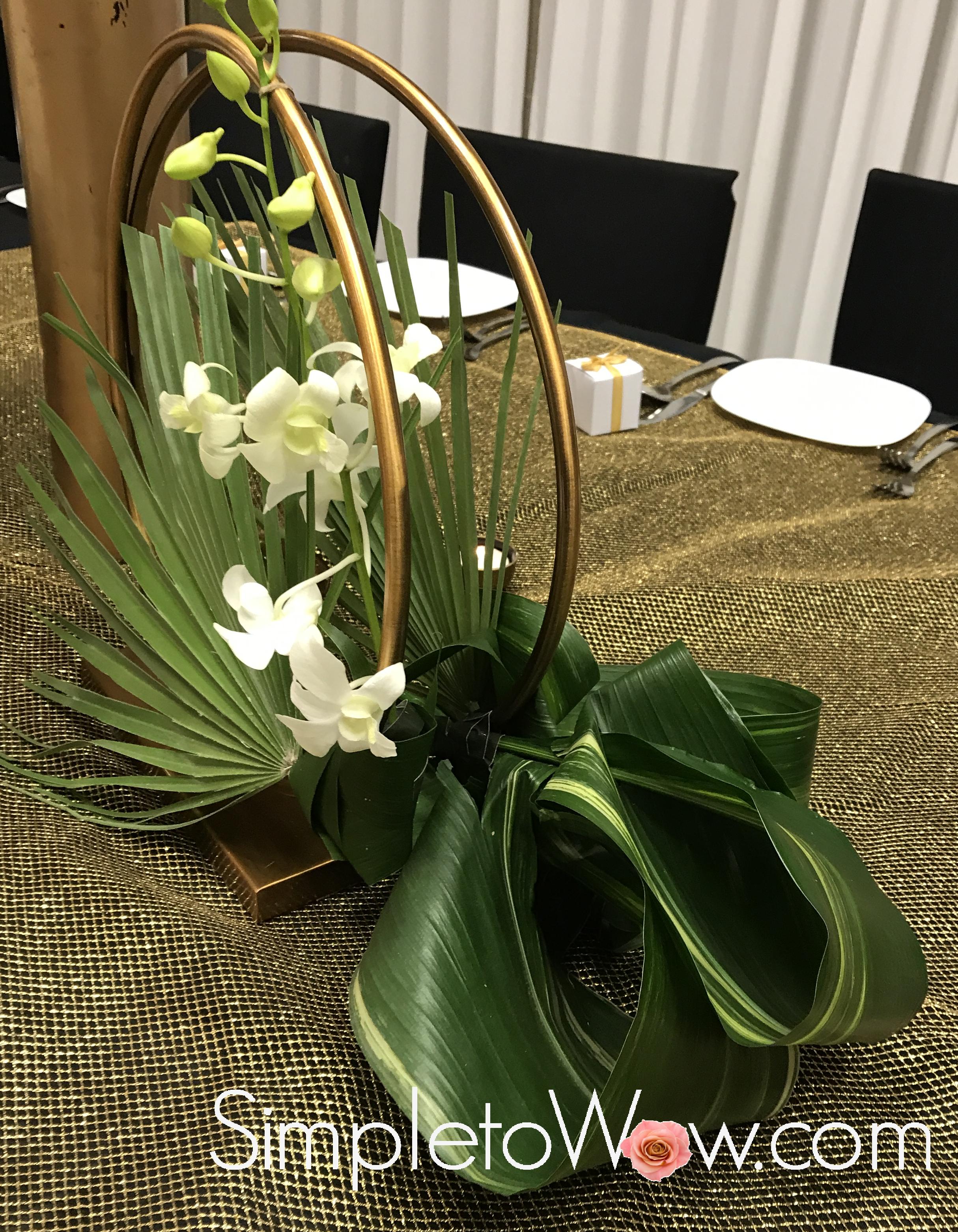 hoop floral arrangement