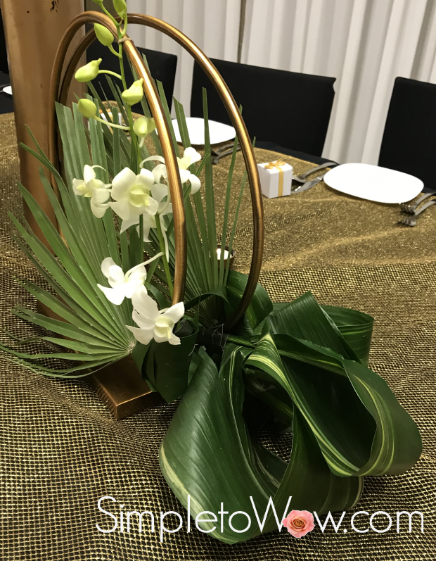 hoop floral arrangement