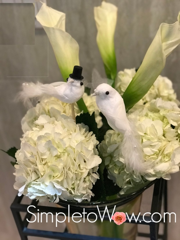 love birds arrangement 3